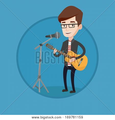 Caucasian man playing guitar. Guitar player singing song and playing an acoustic guitar. Young singer singing into a microphone. Vector flat design illustration in the circle isolated on background.