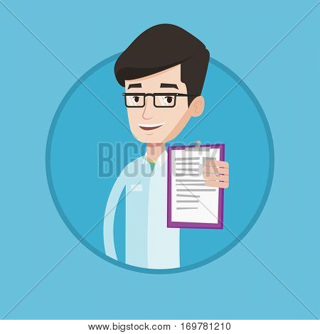 Doctor showing clipboard with prescription. Doctor in medical gown holding clipboard. Caucasian doctor showing patient records. Vector flat design illustration in the circle isolated on background.