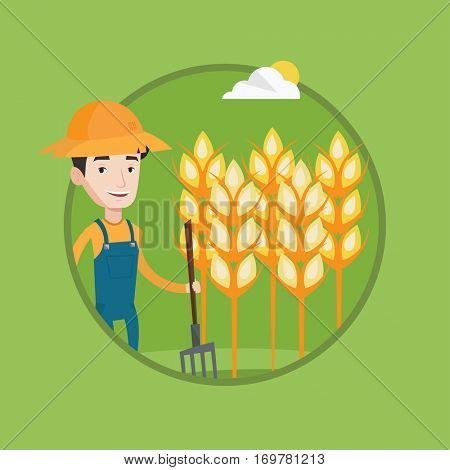 Farmer in summer hat standing with a pitchfork on the background of wheat field. Farmer working with pitchfork in wheat field. Vector flat design illustration in the circle isolated on background.