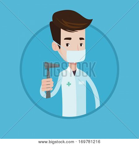 Ear nose throat doctor holding medical tool. Doctor in medical gown and mask with tools used for examination of ear, nose, throat. Vector flat design illustration in the circle isolated on background.