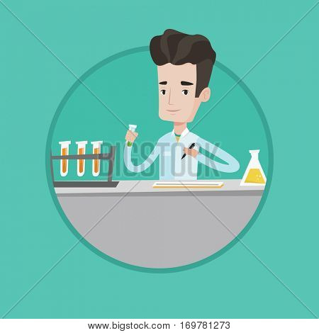 Laboratory assistant working with a test tube and taking some notes. Caucasian laboratory assistant analyzing liquid in test tube. Vector flat design illustration in the circle isolated on background.