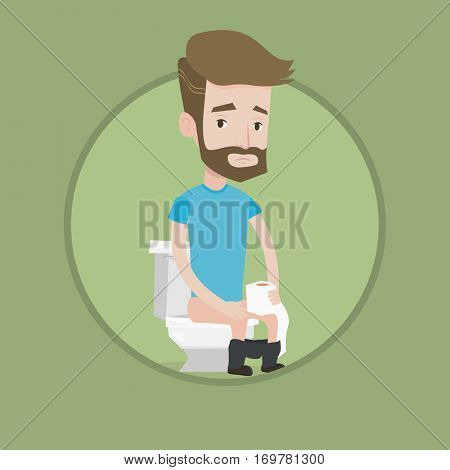 Young caucasian man sitting on toilet bowl with toilet paper roll and suffering from diarrhea. Hipster man sick with diarrhea. Vector flat design illustration in the circle isolated on background.