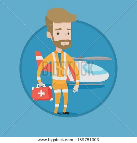 Doctor of air ambulance in front of rescue helicopter. Doctor of air ambulance with first aid box. Hipster doctor of air ambulance. Vector flat design illustration in the circle isolated on background
