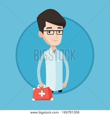 Young caucasian male doctor in medical gown holding first aid box. Friendly doctor in uniform standing with first aid kit. Vector flat design illustration in the circle isolated on background.