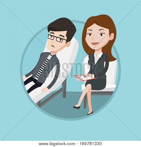 Caucasian patient talking about problems with psychotherapist or psychologist. Psychologist having session with depressed patient. Vector flat design illustration in the circle isolated on background.