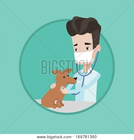 Young male veterinarian examining dog. Veterinarian checking heartbeat of a dog with stethoscope. Concept of medicine and pet care. Vector flat design illustration in the circle isolated on background