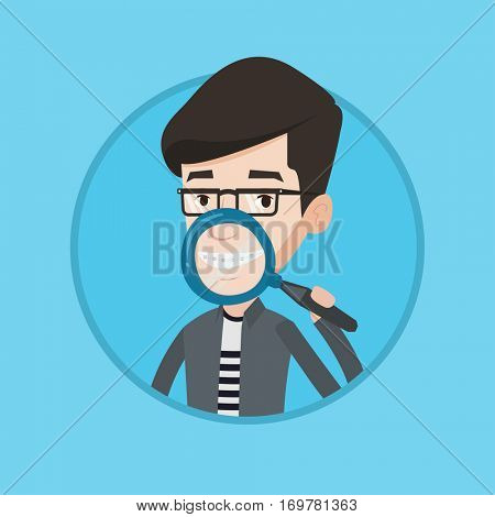 Man holding a magnifying glass in front of his teeth. Caucasian man examining his teeth with magnifier. Concept of teeth examining. Vector flat design illustration in the circle isolated on background