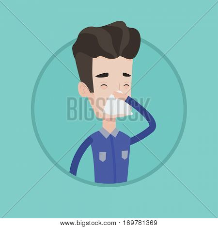Young caucasian man blowing his nose to paper napkin. Sick man sneezing. Man having an allergy and blowing his nose to a tissue. Vector flat design illustration in the circle isolated on background.