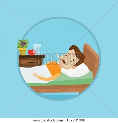Caucasian sick man with fever laying in bed. Sick man measuring temperature with thermometer. Sick man suffering from cold or flu. Vector flat design illustration in the circle isolated on background.