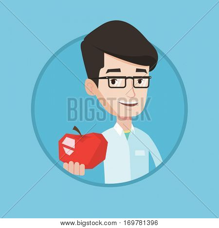 Young caucasian nutritionist prescribing diet and healthy eating. Nutritionist holding an apple. Nutritionist offering an apple. Vector flat design illustration in the circle isolated on background.