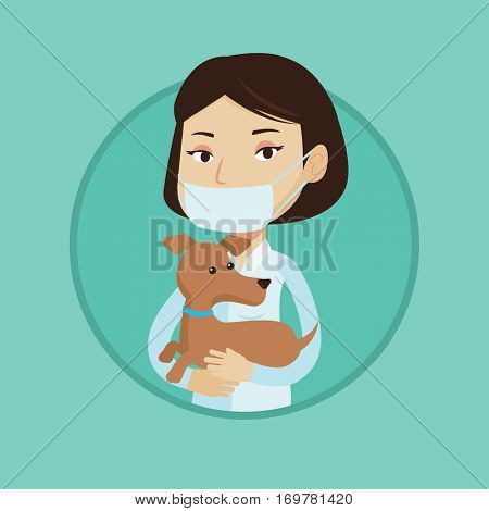 Young caucasian veterinarian holding small dog. Female veterinarian in medical mask carrying a dog. Veterinarian examining dog. Vector flat design illustration in the circle isolated on background.