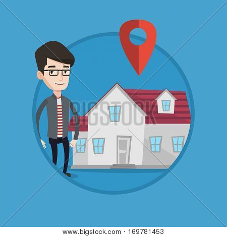 Young caucasian real estate agent standing on a background of map pointer above the house. Happy real estate agent offering house. Vector flat design illustration in the circle isolated on background.