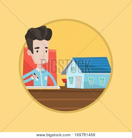 Real estate agent signing contract. Real estate agent sitting in office with house model. Man signing home purchase contract. Vector flat design illustration in the circle isolated on background.