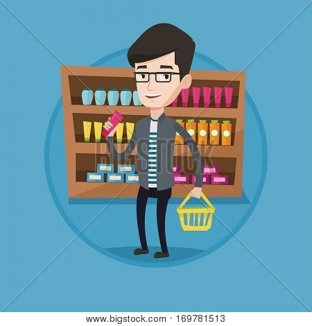 Man holding a shopping basket in one hand and a tube of cream in another. Caucasian customer shopping at supermarket with basket. Vector flat design illustration in the circle isolated on background.