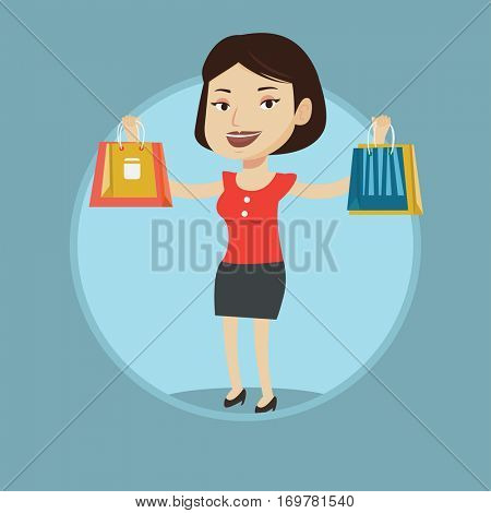 Smiling woman holding shopping bags. Happy caucasian woman carrying shopping bags. Girl standing with a lot of shopping bags. Vector flat design illustration in the circle isolated on background.