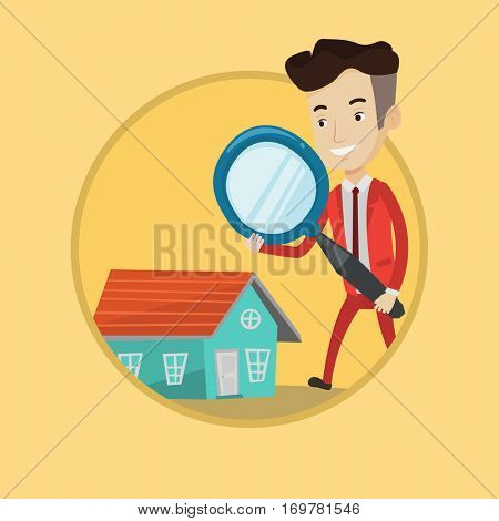 Caucasian businessman using a magnifying glass for looking for a new house. Businessman analyzing house with a magnifying glass. Vector flat design illustration in the circle isolated on background.