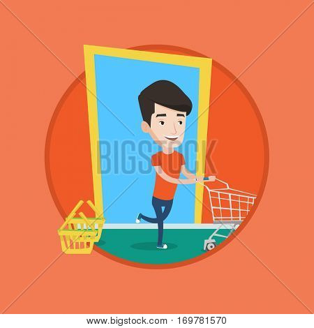 Man rushing to shopping. Customer with an empty shopping trolley running into the shop. Caucasian man pushing supermarket trolley. Vector flat design illustration in the circle isolated on background.