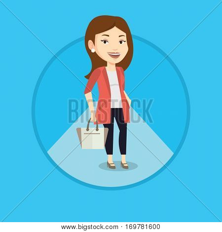 Woman posing on fashion event. Female model walking along catwalk during fashion week. Woman on catwalk during fashion show. Vector flat design illustration in the circle isolated on background.