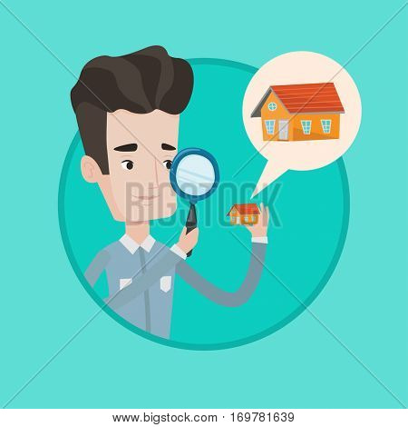 Caucasian man looking for a new house in real estate market. Man using magnifying glass for seeking a house in real estate market. Vector flat design illustration in the circle isolated on background.