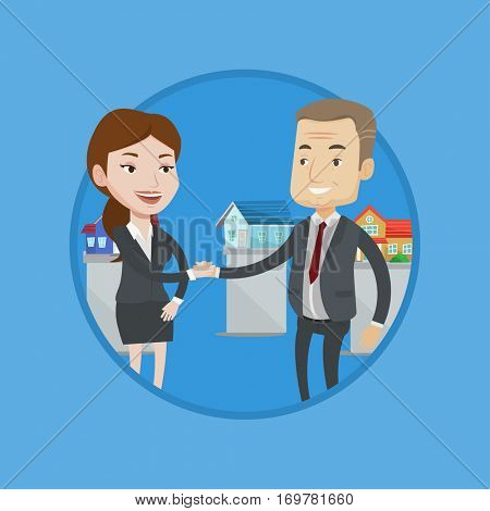 Real estate agent shaking hand to buyer after successful deal in office. Conclusion of real estate deal between realtor and buyer. Vector flat design illustration in the circle isolated on background