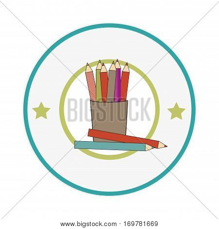 silhouette color with pencils set in circular frame vector illustration