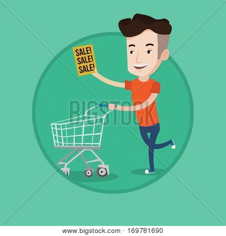 Man running on big sale. Man holding paper sheet with sale text. Man with shopping trolley running in hurry to the store on sale. Vector flat design illustration in the circle isolated on background.