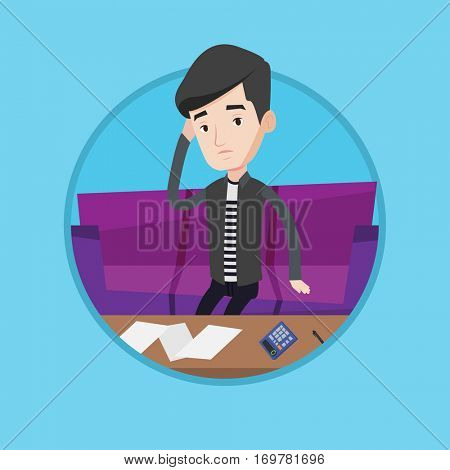 Unhappy caucasian man calculating home bills. Sad man sitting on sofa and accounting costs and mortgage for paying home bills. Vector flat design illustration in the circle isolated on background.