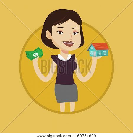 Woman holding money and model of house symbolizing loan for house. Woman got loan for buying a new house. Real estate loan concept. Vector flat design illustration in the circle isolated on background