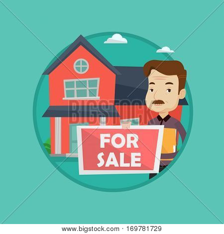 An adult broker offering the house. Male broker with placard for sale and documents in hands standing on the background of house. Vector flat design illustration in the circle isolated on background.