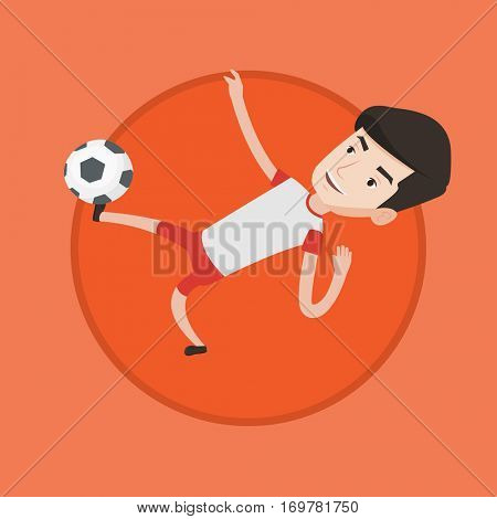 Young caucasian soccer player kicking ball during game. Smiling man juggling with a ball. Soccer player playing with soccer ball. Vector flat design illustration in the circle isolated on background