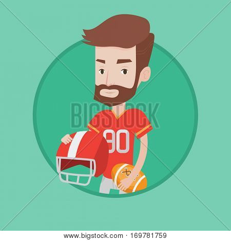 A hipster rugby player with the beard holding rugby ball and helmet in hands. Young caucasian male rugby player in uniform. Vector flat design illustration in the circle isolated on background.