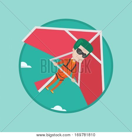 Caucasian man flying on hang-glider. Sportsman taking part in hang gliding competitions. Man having fun while gliding on hang-glider. Vector flat design illustration in circle isolated on background.