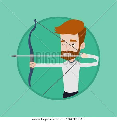 Caucasian sportsman practicing in archery. Hipster archery player training with the bow. Archery player aiming with a bow in hands. Vector flat design illustration in the circle isolated on background