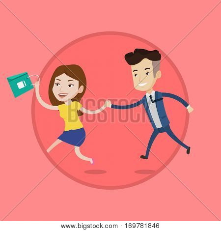 Young caucasian customers rushing on sale to the shop. Woman and man running in a hurry to store on sale. Shopping sale concept. Vector flat design illustration in the circle isolated on background.
