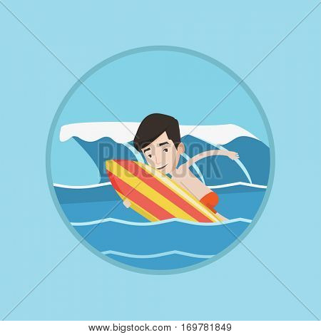 Young happy caucasian surfer having fun during execution of a move. Surfer in action on a surf board. Cheerful surfer doing trick. Vector flat design illustration in the circle isolated on background.