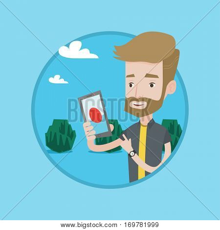 Hipster man playing action game on smartphone. Man playing with his mobile phone outdoor. Man using smartphone for playing games. Vector flat design illustration in the circle isolated on background.