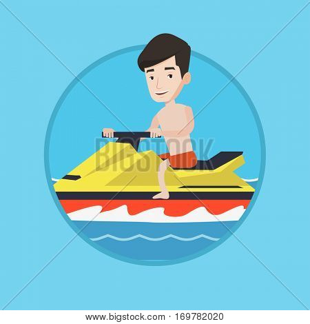 Caucasian man driving water scooter in the sea at summer day. Man riding on water scooter. Excited man training on water scooter. Vector flat design illustration in the circle isolated on background.