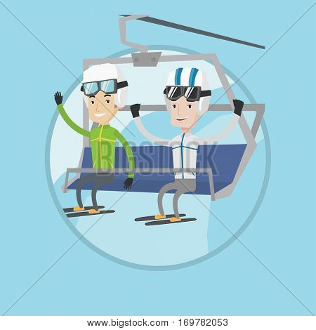 Two caucasian men sitting on ski elevator. Smiling skiers using cableway at ski resort. Skiers on cableway at winter sport resort. Vector flat design illustration in the circle isolated on background.