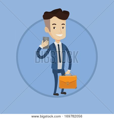 Businessman with briefcase making selfie. Man in suit making selfie with cellphone. Businessman looking at phone and making selfie. Vector flat design illustration in the circle isolated on background