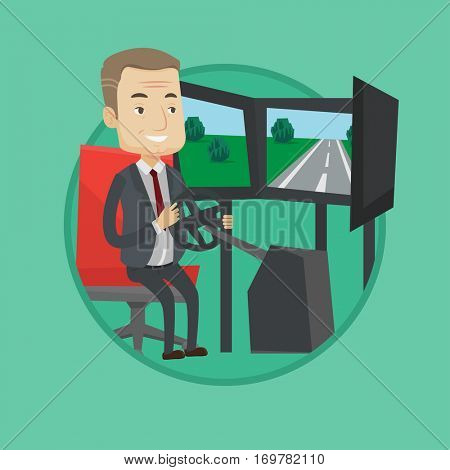 Man in a suit playing video game with gaming wheel. Man driving autosimulator in game room. Man playing car racing video game. Vector flat design illustration in the circle isolated on background.