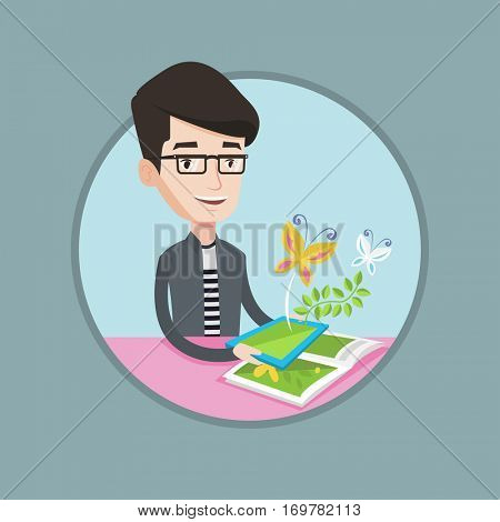 Caucasian cheerful man holding tablet computer with application for augmented reality. Concept of augmented reality. Vector flat design illustration in the circle isolated on background.