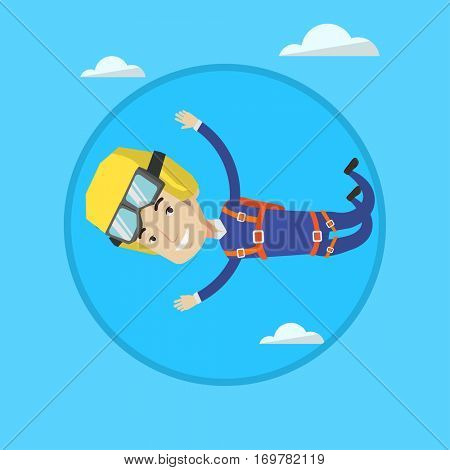 Caucasian parachutist jumping with parachute. Professional male parachutist falling through the air. Man flying with parachute. Vector flat design illustration in the circle isolated on background.