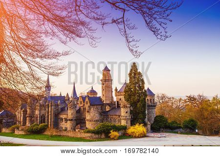 old ancient castle in the Netherlands, blue sky