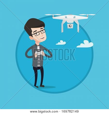 Young man flying drone with remote control. Caucasian man operating a drone with remote control. Cheerful man controling a drone. Vector flat design illustration in the circle isolated on background.