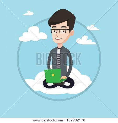 Young man sitting on a cloud with laptop on his knees. Caucasian man using cloud computing technology. Concept of cloud computing. Vector flat design illustration in the circle isolated on background.