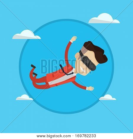 Businessman wearing virtual reality headset and flying in sky. Man in virtual reality device having fun while playing video game. Vector flat design illustration in the circle isolated on background.