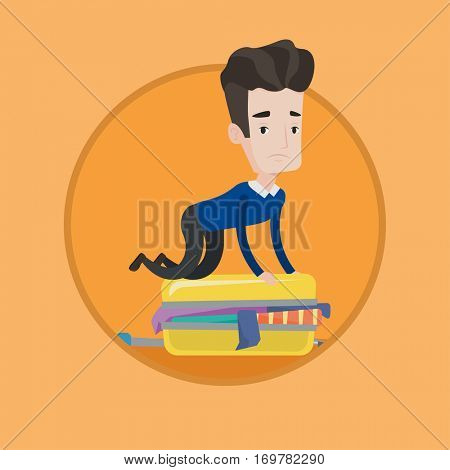 Young caucasian man sitting on suitcase and trying to close it. Frustrated man having problems with packing clothes in suitcase. Vector flat design illustration in the circle isolated on background.