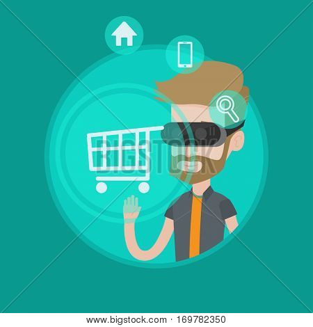 Caucasian hipster man wearing virtual reality headset and looking at shopping cart. Virtual reality and shopping online concept. Vector flat design illustration in the circle isolated on background.