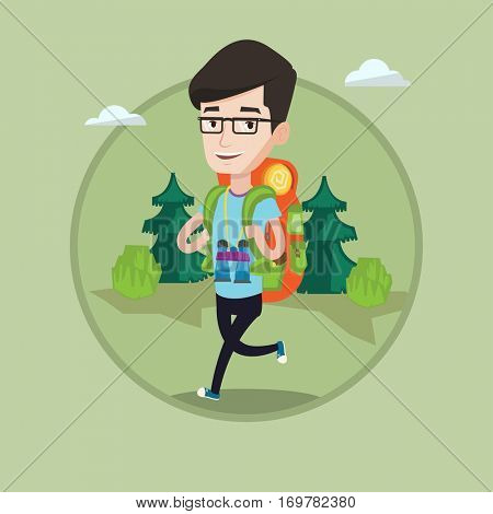 Caucasian backpacker with backpack and binoculars walking outdoor. Cheerful backpacker running. Backpacker during summer trip. Vector flat design illustration in the circle isolated on background.