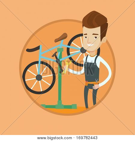 Caucasian technician working in bike workshop. Technician fixing bicycle in repair shop. Bicycle mechanic repairing bicycle. Vector flat design illustration in the circle isolated on background.